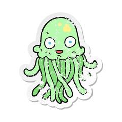 retro distressed sticker of a cartoon octopus