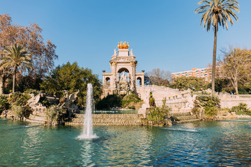 BARCELONA, SPAIN - DECEMBER 28, 2018: architectural ensemble and lake with fountains in Parc de la Ciutadella