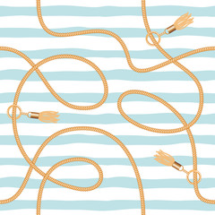 Chains, tassels and ropes marine seamless pattern for summer fabric design. Vacation seaside holidays theme.