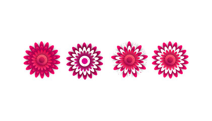 Creative saturated gradient spring flowers in flat style isolated on white background. View from above. Can be used for design banners, cards, t-shirts