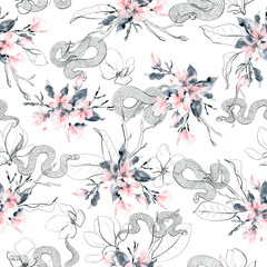 Seamless pattern with flowers and snakes. Pink magnolia flowers, gray and black branches and leaves.