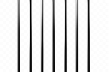 Realistic metal prison grilles. Isolated on a transparent background. Thuster machine, iron prison cell.metallic product.Vector ilustration