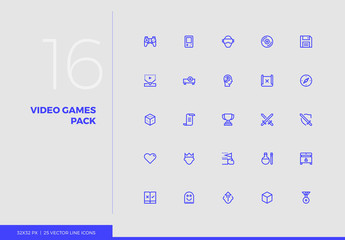 Vector Line Icons Gaming Pack