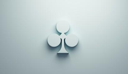Clover Poker Card Symbol. 3D Render Illustration