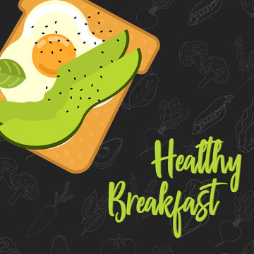 Menu concept for restaurant and cafe. Breakfast menu template. Healthy breakfast menu template.