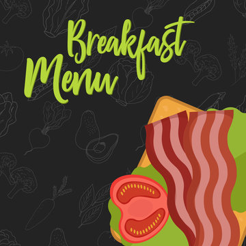 Menu concept for restaurant and cafe Breakfast menu template. Flat style sandwich