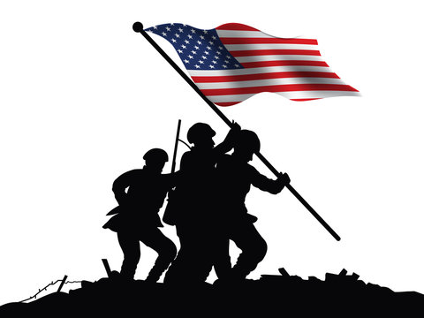America flag and soldiers vector illustration