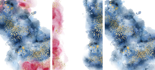 Watercolor abstract aquamarine, background, watercolour blue, pink and gold texture Vector illustration