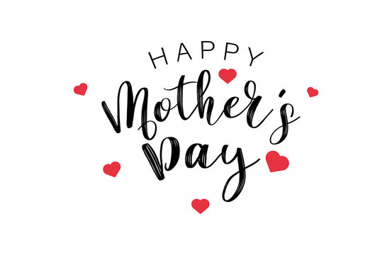 Happy Mothers Day Calligraphy text with mini red hearts. Holiday and decoration word and quotes concept. Vector illustration