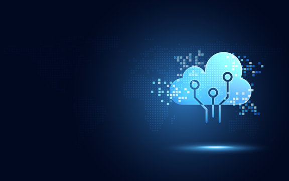 Futuristic blue cloud with pixel digital transformation abstract new technology background. Artificial intelligence and big data concept. Business industry 4.0 and 5g wifi data storage communication.