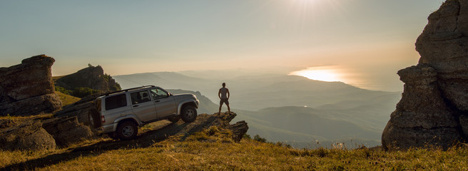 man with car on beauty nature landscape background