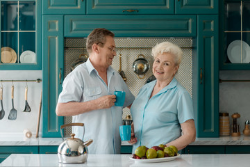 Senior couple drinking tea together