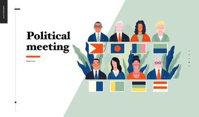 Technology 1 - Political meeting - flat vector concept digital illustration political meeting metaphor. Creative landing web page design template