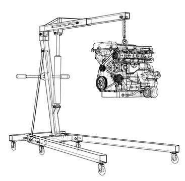 Engine hoist with engine outline