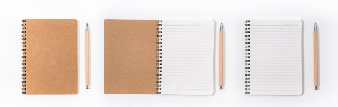 Brown spiral notebook isolated on white background.top view