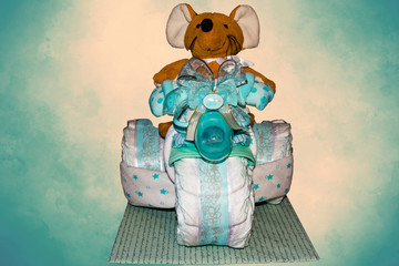 Diaper cake tricycle with pedals