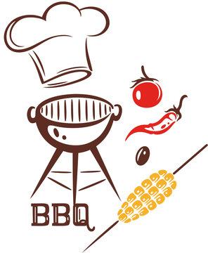 Grillen Grill Kochmütze Grillmeister BBQ Griller.  Kochmütze mit Barbecue Grill, Maiskolben, Olive, Peperoni und Tomate. Geschenkidee für Griller, Grillmeister, Koch und Köchin.