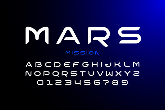 Modern space style typeface, alphabet letters and numbers