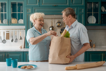 Elderly couple bought groceries