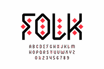 Folk style font design, tribal alphabet, letters and numbers