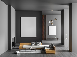 Mock up poster frame in spacious luxury interior with fireplace. Minimalist modern interior design. 3D illustration.