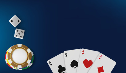 Top view of Casino table. Poker chips, dice and cards on blue background. Online Vegas casino banner with chips on blue game table and place for text. Gambling 3d vector backdrop concept.