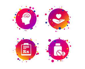 Medicine icons. Medical tablets bottle, head with brain, prescription Rx signs. Pharmacy or medicine symbol. Hand holds heart. Gradient circle buttons with icons. Random dots design. Vector
