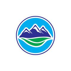 Mountain and leaf Logo circle design illustration