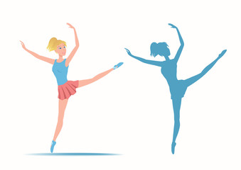 Dancing sportive and young ballerina and her silhouette.