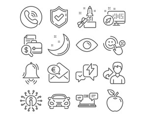 Set of Car, Eye and Innovation icons. Accounting report, Clock bell and Customer satisfaction signs. Internet chat, Lightning bolt and Euro money symbols. Transport, View or vision, Crowdfunding