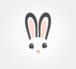 Easter bunny symbolic face icon.