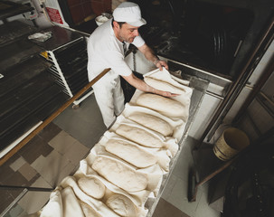 Production of baked bread with a wood oven in a bakery.