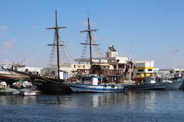 Pirate ship on the island of Djerba, Tunisia. Tourist pirate ship to entertain guests of the island. Djerba island. Tunisia. Northern Africa.