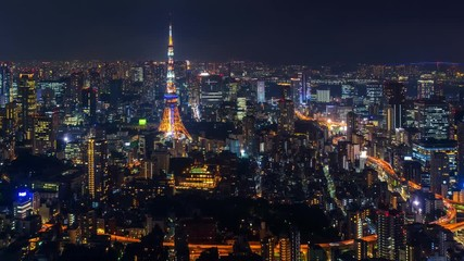 Fotomurales - Time lapse of Tokyo cityscape at night.