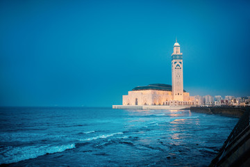 The largest Mosque in Morocco during a sunset. The Hassan II Mosque. Beautiful sunset in Casablanca.