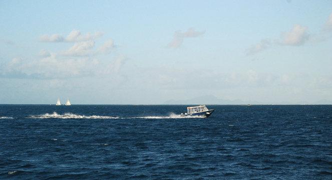 Sailing boat in Pacific Ocean