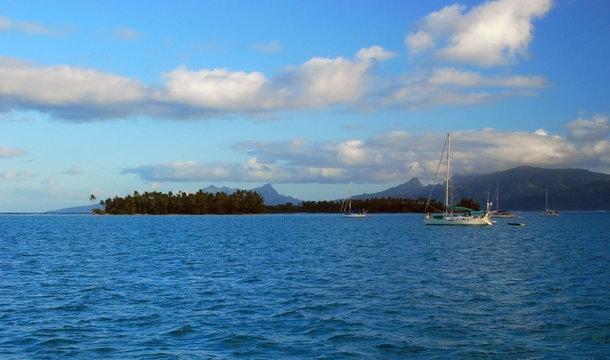 Sailing boats in Raiatea Island, French Polynesia