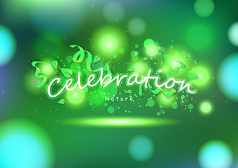 Celebration, Green nature, party abstract background, decoration with leaves and ribbons, greeting card festival holiday vector illustration
