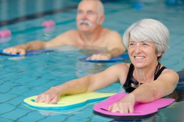 seniors doing water exercises