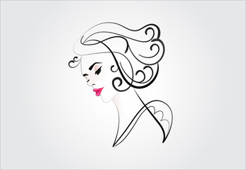 Logo face of pretty woman silhouette vector