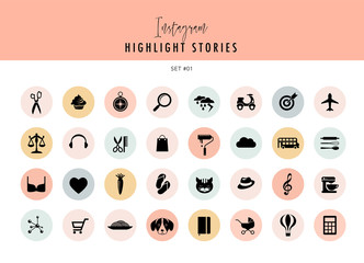 Instagram Highlights Stories Covers Icons collection. Fully editable, scalable vector file