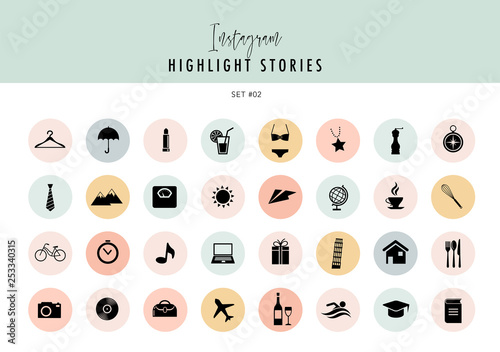 Instagram Highlights Stories Covers Icons collection  Fully editable