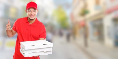 Pizzabote liefern Pizza Bote bestellen Bestellung Lieferung Beruf lachen Erfolg erfolgreich Stadt Banner Textfreiraum Copyspace