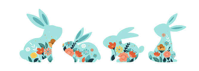 Happy Easter vector illustrations of bunnies, rabbits icons, decorated with flowers