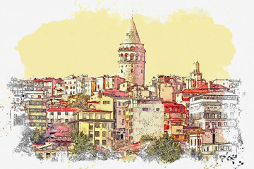 Watercolor sketch or illustration of a beautiful view of the traditional Turkish architecture and Galata tower in Istanbul in Turkey