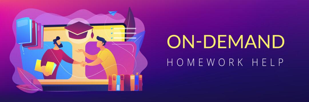 Online tutor concept banner header.