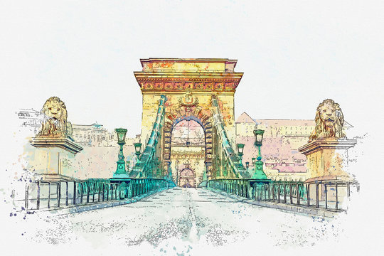 Watercolor sketch or illustration of a beautiful view of the bridge over the Danube River in Budapest in Hungary