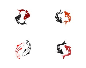 Koi Fish Icon. Underwater. Easy editable layered