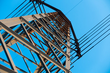 The construction of electricity cable pod with beautiful blue sky.