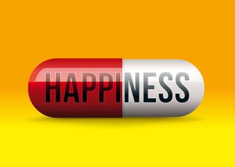 Concept du remède miracle au bonheur avec un médicament sous forme de gélule sur lequel est écrit bonheur.